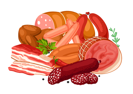Illustration with meat products. Illustration of sausages, bacon and ham
