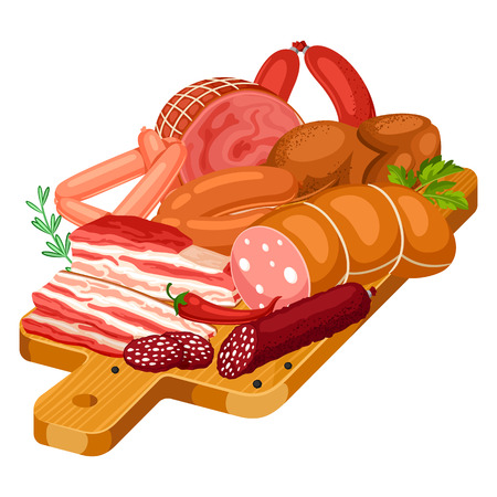 Illustration with meat products on wooden cutting board. Illustration of sausages, bacon and ham