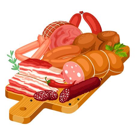 Illustration avec des produits de viande sur une planche à découper en bois. Illustration de saucisses, de bacon et de jambon