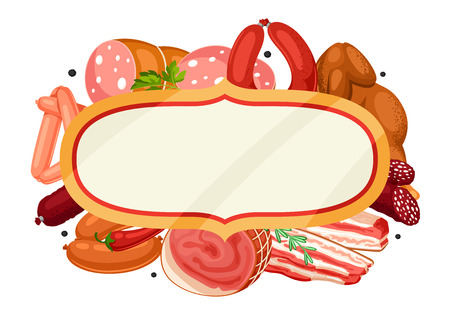 Frame with meat products on white background.