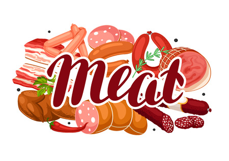 A Background with meat products.