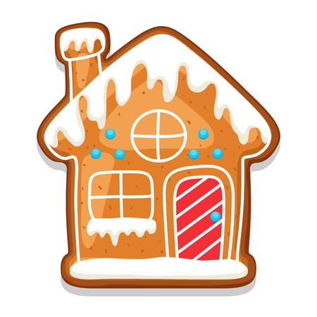ジンジャーブレッドのクッキーの家。メリー クリスマスのお菓子のイラスト。