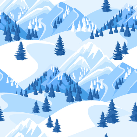 Winter seamless pattern. Beautiful landscape with snowy mountains and fir forest Illustration