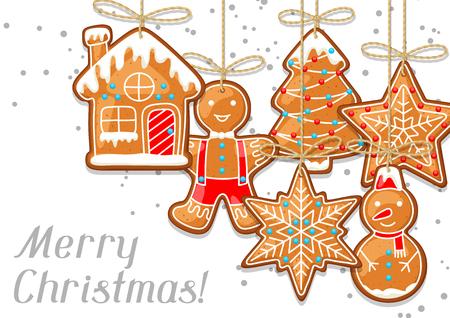 Frohe Weihnachten Grußkarte mit hängenden Lebkuchen Standard-Bild - 87783098