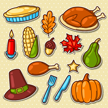 Set of Happy Thanksgiving Day holiday objects and icons Illustration