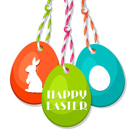 Happy Easter greeting card with decorative eggs. Concept can be used for holiday invitations and posters. Illustration