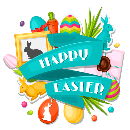 flayer: Happy Easter greeting card with decorative objects, eggs, bunnies stickers. Concept can be used for holiday invitations and posters.