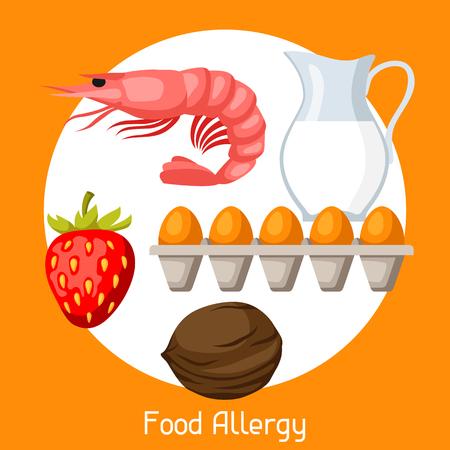 Food allergy. A vector illustration for medical websites advertising medications. Иллюстрация