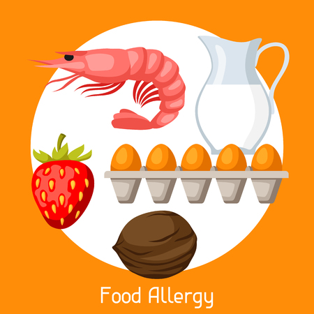 Food allergy. A vector illustration for medical websites advertising medications. Illustration