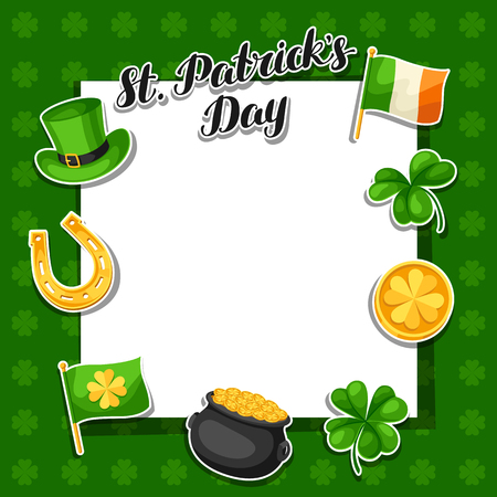 Saint Patrick Day frame on green background. Illustration
