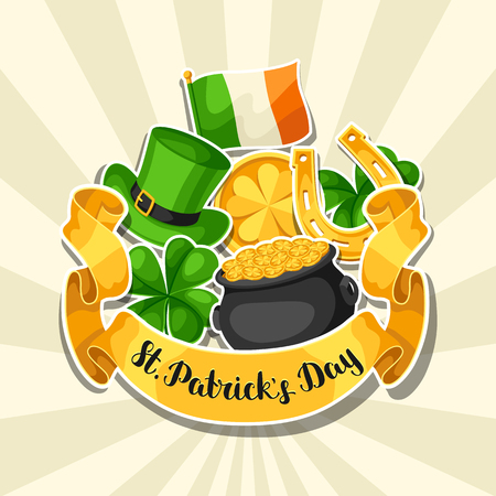 Saint Patrick Day greeting card on white background.