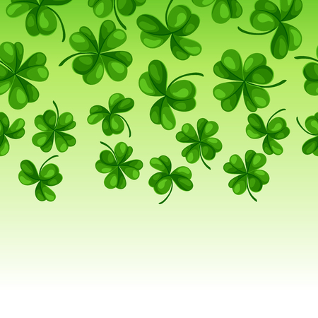 Saint Patrick Day seamless border. Green clover shamrock and the four-leaf. Illustration