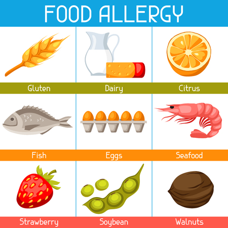 Food allergy background with allergens and symbols. A vector illustration for medical websites advertising medications.