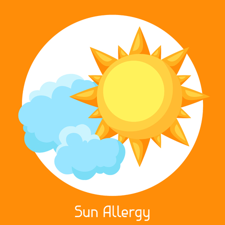 radiacion solar: Sun allergy. A vector illustration for medical websites advertising medications.
