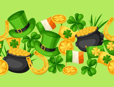 Saint Patrick Day seamless pattern on green background. Illustration