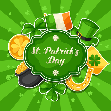 Saint Patrick Day greeting card on green background.