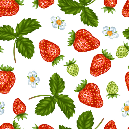 Red strawberries and leaves pattern. Illustration