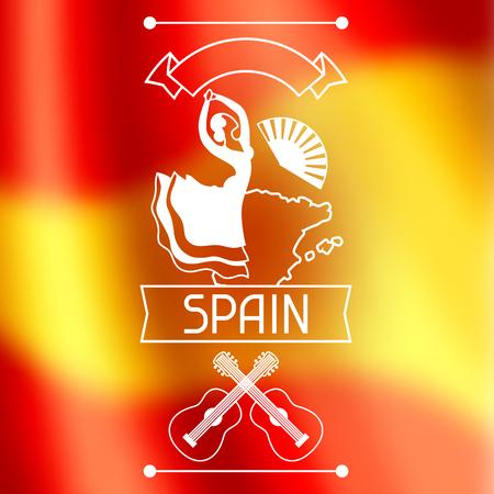 barcelona: Spanish flamenco banner. Illustration