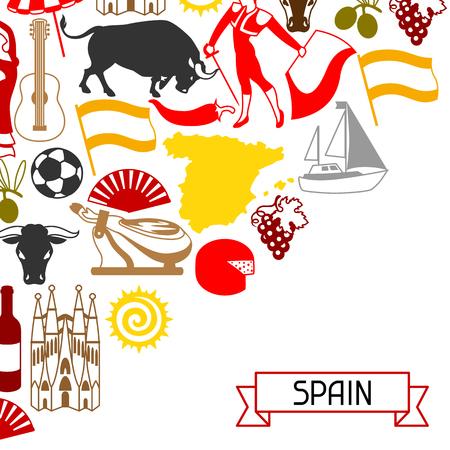 Diseño de fondo de España. Símbolos y objetos tradicionales españoles.