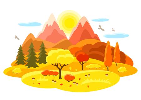 Herbstlandschaft mit Bäumen, Bergen und Hügeln. Saisonabbildung.