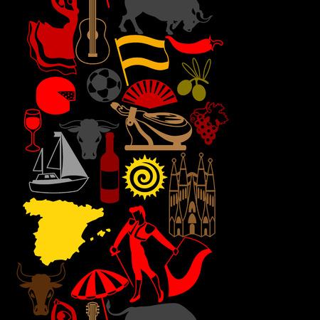Patrón sin fisuras de España. Símbolos y objetos tradicionales españoles. Vectores