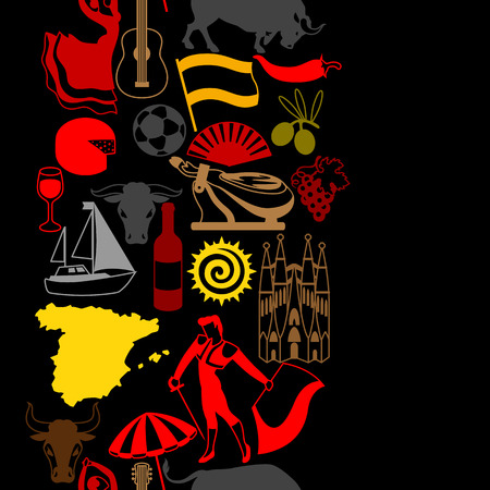 barcelona: Spain seamless pattern. Spanish traditional symbols and objects.