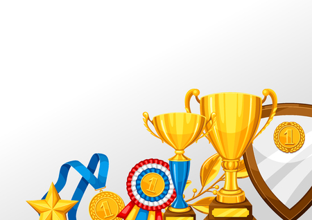 Realistic gold cup and other awards. Background with place for text for sports or corporate competitions. Illustration