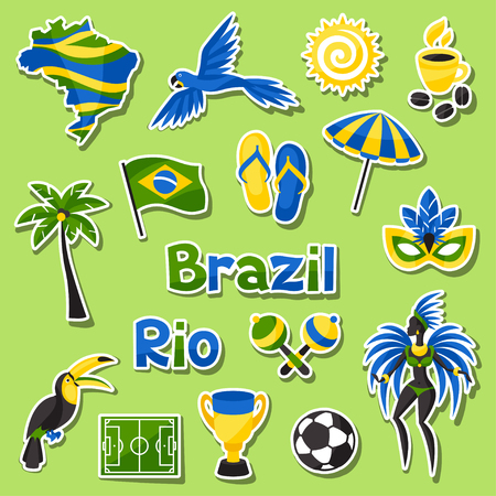Collection of Brazil sticker objects and cultural symbols. Çizim