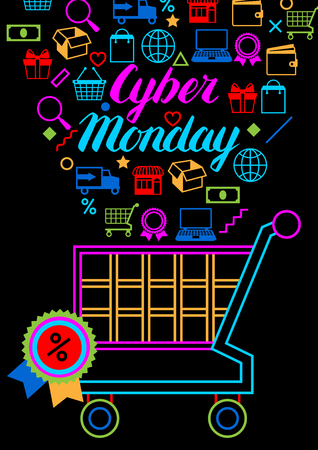 Cyber monday sale background. Online shopping and marketing advertising concept. Illustration