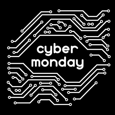 Cyber ??maandag verkoop achtergrond. Online winkelen en marketing reclameconcept. Patroon van microchipelementen.