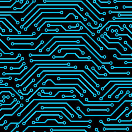 回路基板のシームレスなパターン。マイクロ チップの要素の背景です。