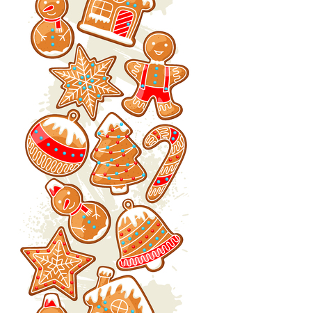 Merry Christmas seamless pattern with various gingerbreads.