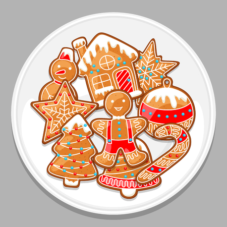 Feliz Navidad varios panes de jengibre en plato blanco. Ilustración de vector