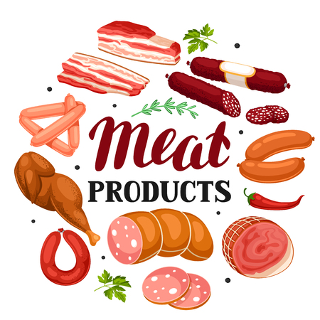 Background with meat products. Illustration of sausages, bacon and ham.