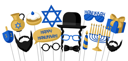 Happy Hanukkah photo booth props. Accessories for festival and party.