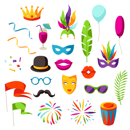 Carnival party set of celebration icons, objects and decor. Illustration