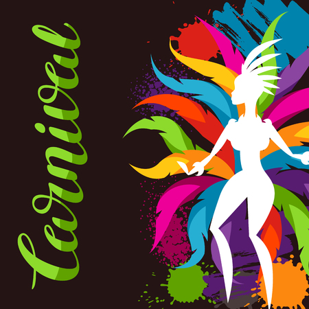 parade: Carnival party background with samba dancer and colorful decorative feathers.