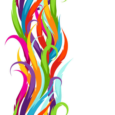 Abstract colorful seamless pattern. Feather or waves decorative ornament.