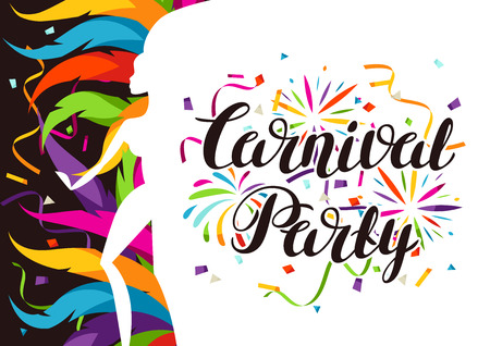 Carnival party background with samba dancer and colorful decorative feathers.