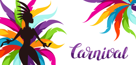 Carnival party banner with samba dancer and colorful decorative feathers. Illustration