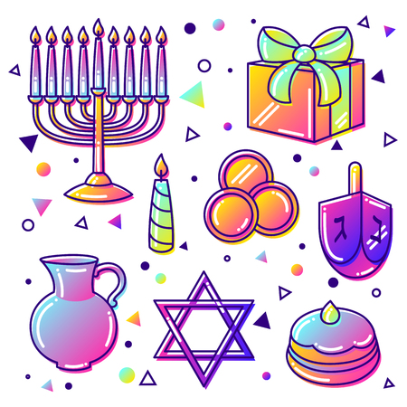 ritual: Set of Happy Hanukkah celebration objects and icons.