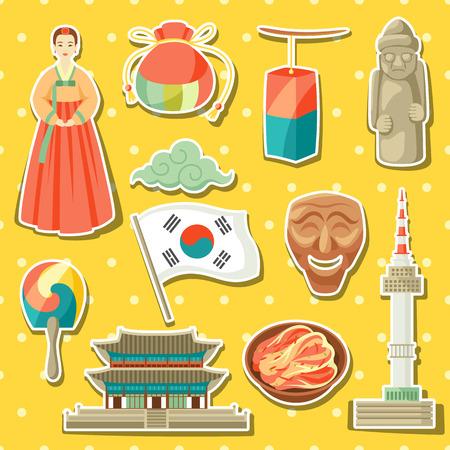 Korean icons set. Korean traditional sticker symbols and objects. Illustration