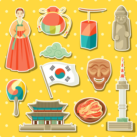 Korean icons set. Korean traditional sticker symbols and objects. Vettoriali