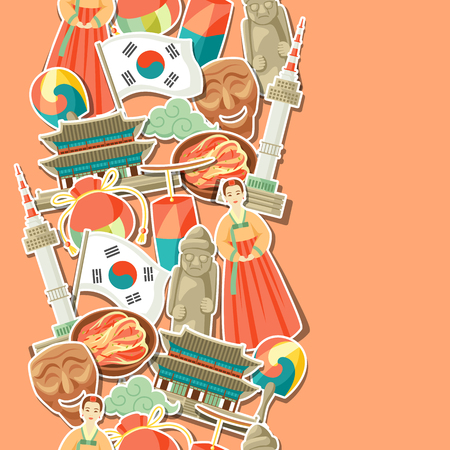Korean seamless pattern. Korean traditional sticker symbols and objects. Illustration