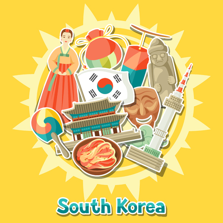 Korean background design. Korean traditional sticker symbols and objects.