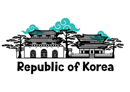 Korean traditional building symbols and objects vector illustration
