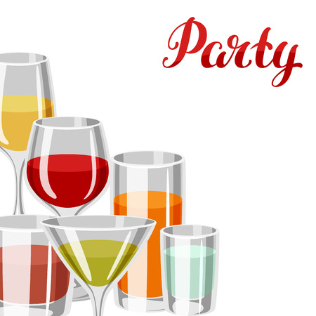 Background with alcohol drinks and cocktails in various glasses. Party invitation. Illustration