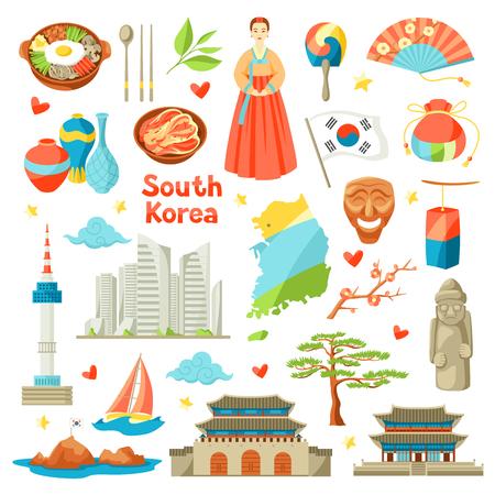 Set di icone della Corea del sud. Simboli e oggetti tradizionali coreani. Vettoriali