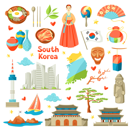 South Korea icons set. Korean traditional symbols and objects.