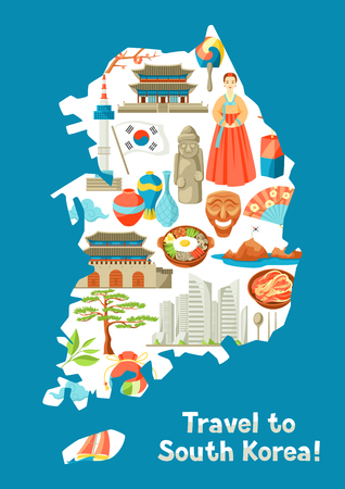 South Korea map design. Korean traditional symbols and objects. Illustration